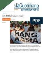 Asia Bibi è Di Nuovo in Carcere