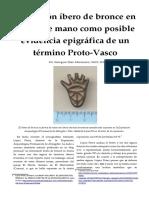Un botón ibero de bronce en forma de mano como posible evidencia epigráfica de un término Proto-Vasco - Georgeos Díaz-Montexano
