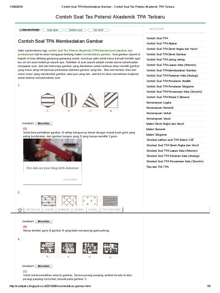 Contoh Soal Tpa Membedakan Gambar Contoh Soal Tes Potensi Akademik Tpa Terbaru 1