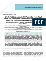 Effect of adding sacha inchi (Plukenetia volubilis L.) seeds to a prototype of convenience food draft, on the nutritional composition and sensory acceptance
