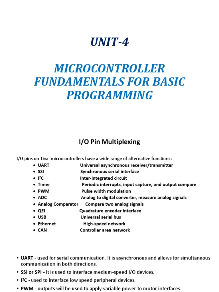 UNIT-4: Microcontroller Fundamentals For Basic Programming