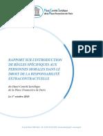 Rapport sur l'introduction de règles spécifiques aux personnes morales dans le droit de la responsabilité extracontractuelle