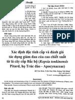 Xác Định Độc Tính Cấp Và Đánh Giá Tác Dụng Giảm Đau Của Cao Chiết Xuất Từ Lá Cây Cốp Bắc Bộ (Kopsia Tonkinensis Pitard, Họ Trúc Đào - Apocynaceae)