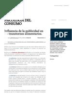 Influencia de La Publicidad en Los Transtornos Alimentarios. - Psicología Del Consumo
