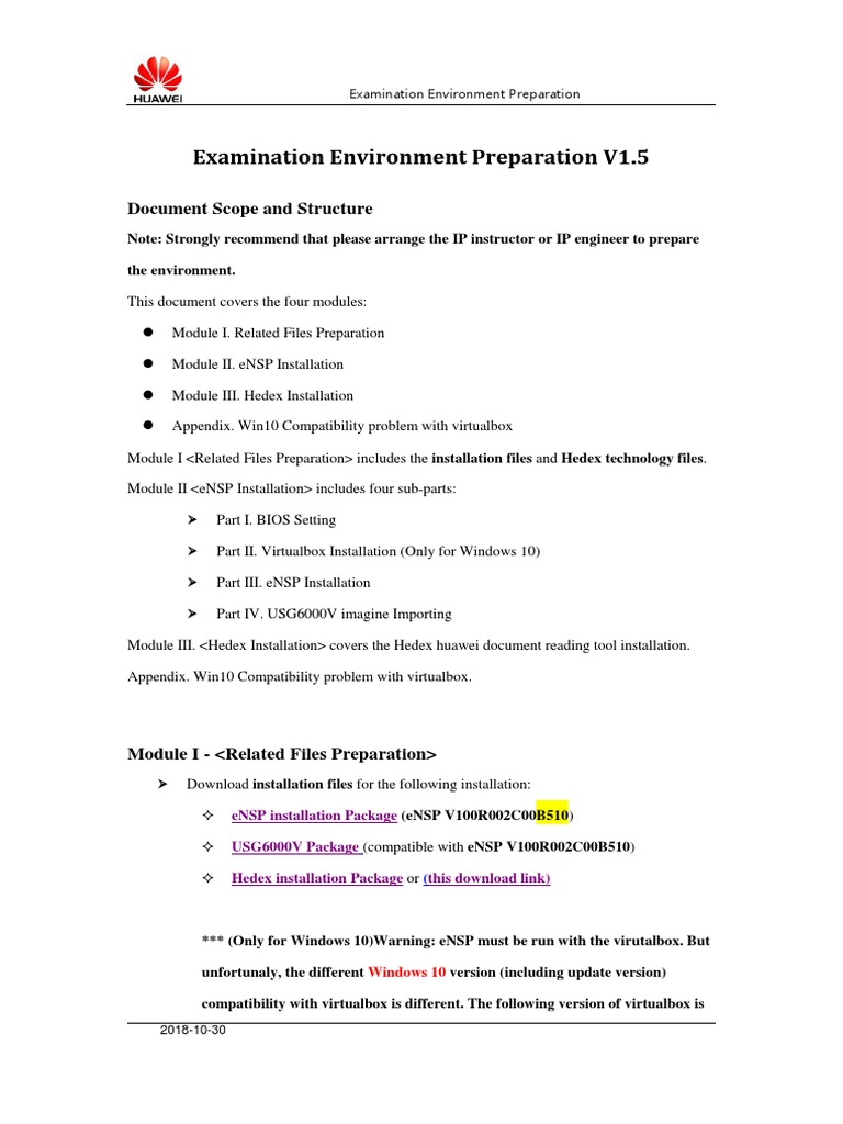 01 ENSP Examination Environment PreparationV1 5[1101