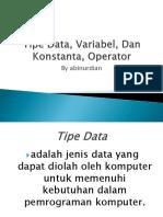 Abinurdian Ppt (Tipe Data Variable Dan Konstanta)