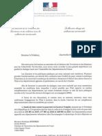 Courrier de Jacqueline Gourault et Sébastien Lecornu, à Dominique Bussereau