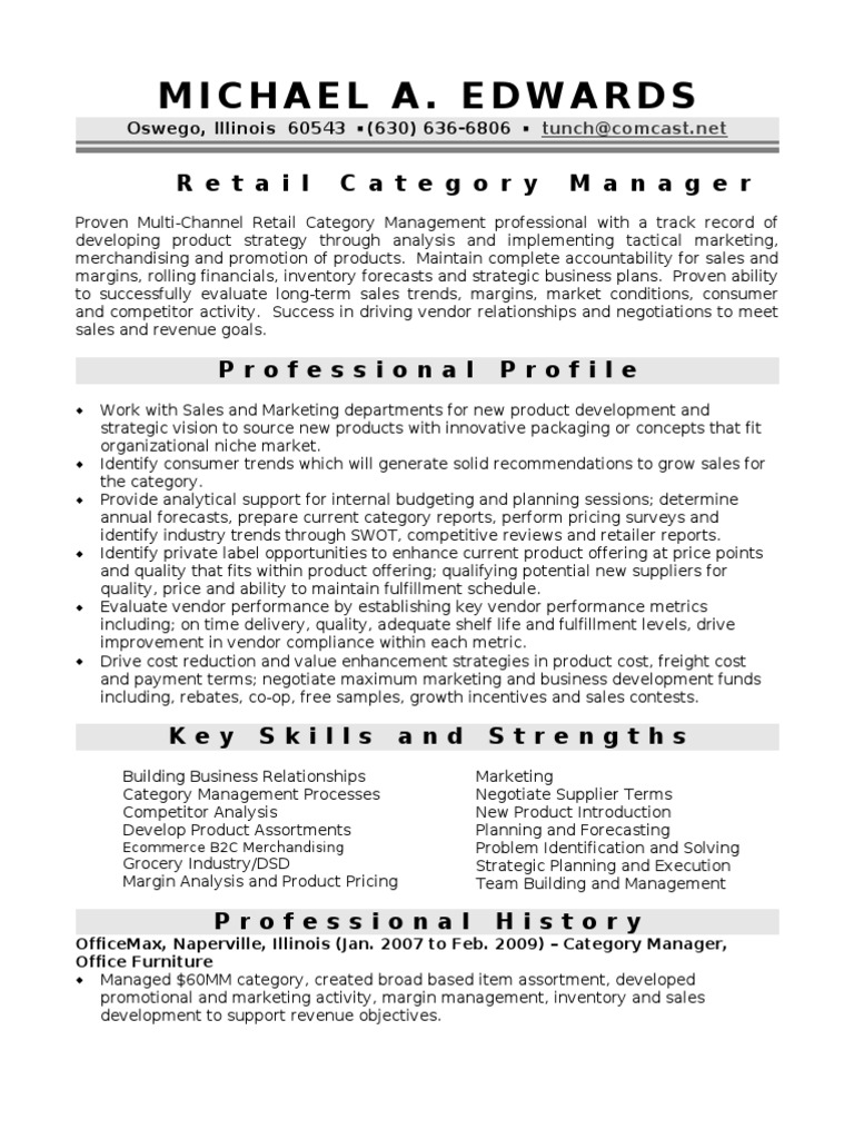 Category Manager in Chicago IL Resume Michael Edwards | Retail | Sales