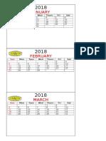 Calendar 2018 Jiacfim