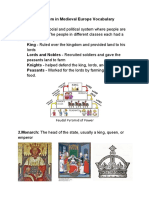 k e feudalism in medieval europe vocabulary