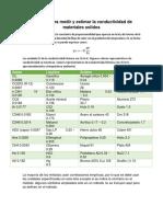 Métodos Para Medir y Estimar La Conductividad de Materiales Solidos