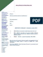 Bulletin de Cotisation 2019