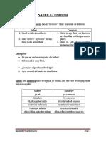 Spanish Conocer Saber Worksheet