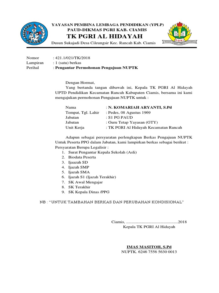 Contoh Surat Pengantar Pengajuan Nuptk Dari Kepala Sekolah ...