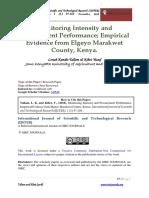 Monitoring Intensity and Procurement Performance. Emprical Evidence From Elgeyo Marakwet County, Kenya.