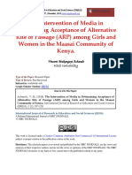 The Intervention of Media in Determining Acceptance of Alternative Rite of Passage (ARP) Among Girls and Women in the Maasai Community of Kenya.