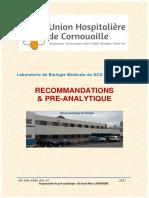 - Présentation Du Laboratoire Et Recommandations Pré-Analytiques