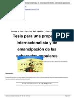 Tesis para una propuesta internacionalista y de emancipación de las soberanías populares, Daniel Albarracín