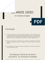 Os Anos 1930 e as Incertezas Do Regime