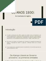 Os Anos 1930 e as Incertezas Do Regime