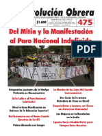 Periódico Revolución Obrera No. 475 Noviembre 2018