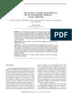 Gênero Discursivo, Posição Enunciativa e Dilema Das Transposições Didáticas Novas Reflexões