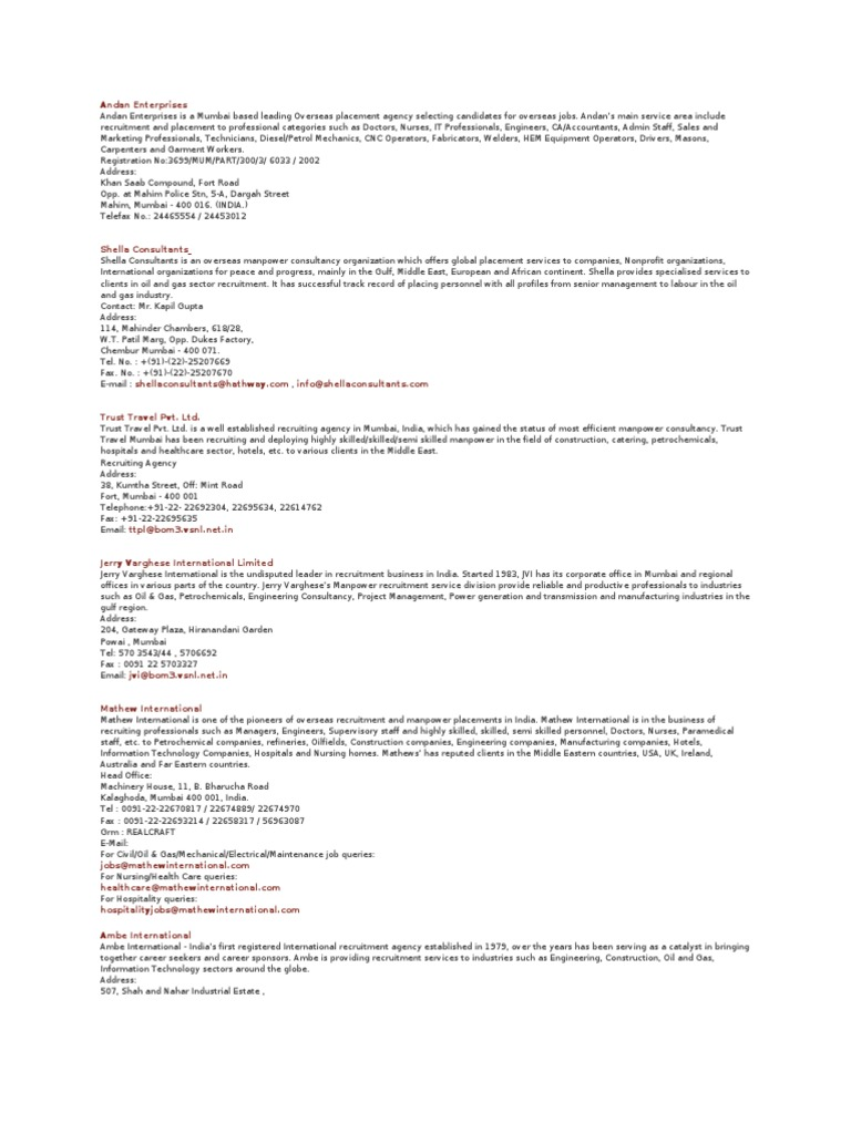 List of Overseas Placement Consultancy | Mumbai | Engineering