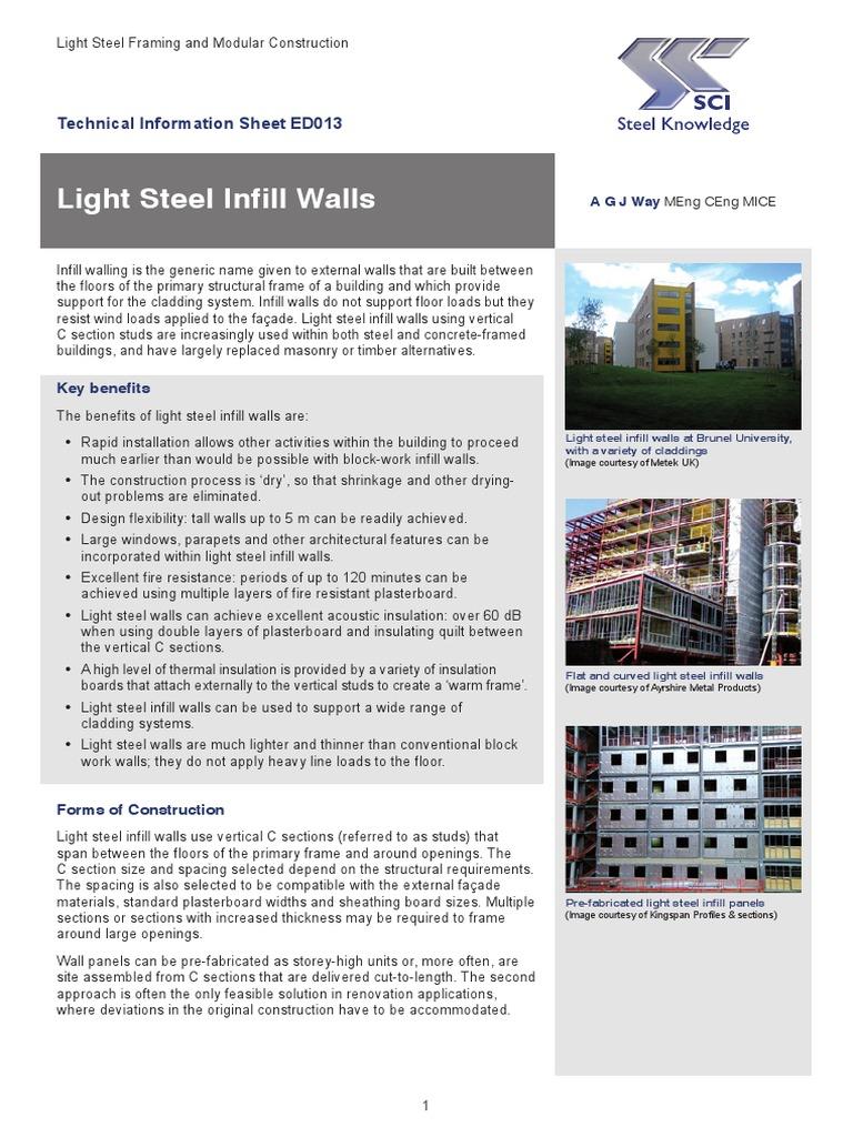 Light Steel Infill Walls | Wall | Framing (Construction)