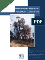 CEAM - Informe sobre el impacto del incendio forestal de Llutxent