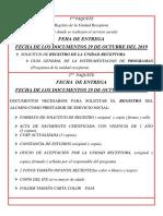 Lista de Documentos Para El Servicio Social