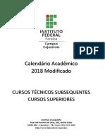 Calendario Semestral 2018 Cajazeiras Campus