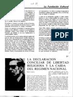 Rafael Gambra, Declaración Dignitatis Humanae