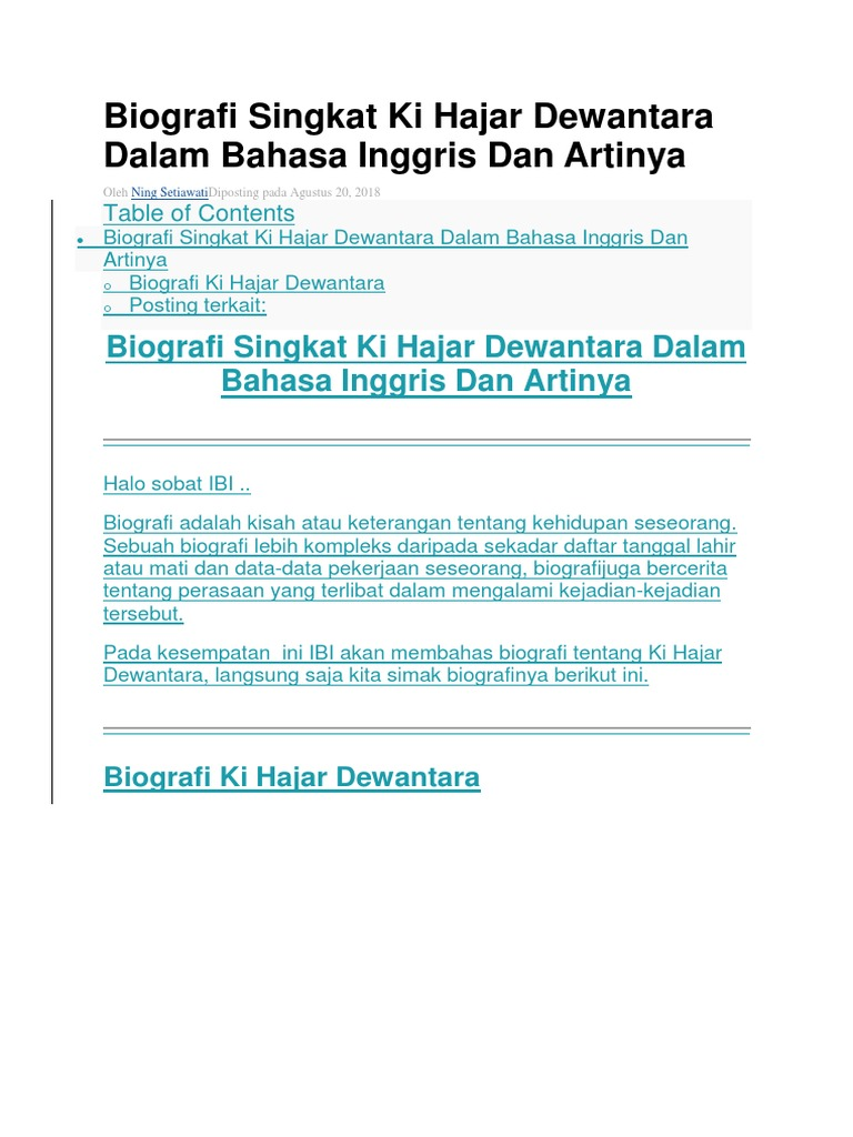 Biografi Singkat Ki Hajar Dewantara Dalam Bahasa Inggris Dan Artinya