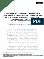 Comunidades Vegetales y pr degradacion sucesion Colombia