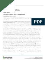 Decreto 1027/2018 reglamentación ley de FA