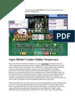 Agen Sbobet Casino Online Terpercaya