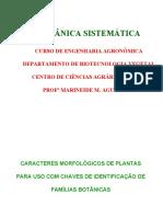 Caracteres morfológicos para uso de chaves 2010
