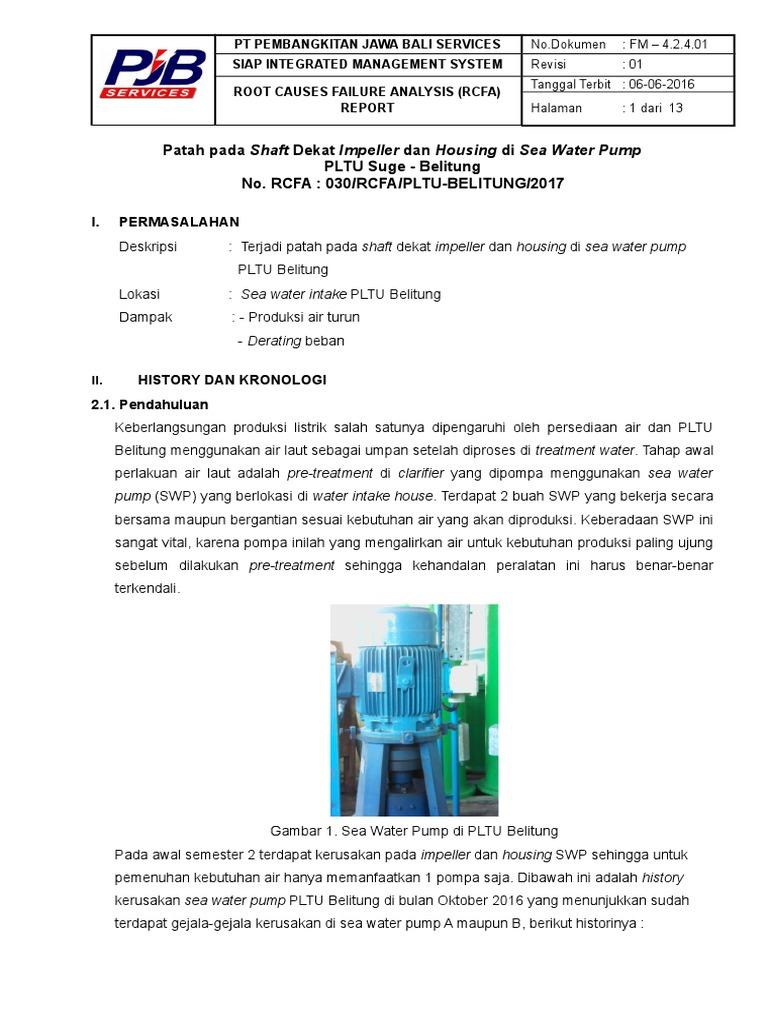 Rcfa Sea Water Pump Pltu Belitung Doc