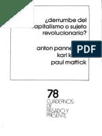 Pannekoek, Korsch y Mattick - ¿Derrumbe del capitalismo o sujeto revolucionario?