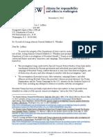 CREW Whitaker Recusal Letter DOJ 11-8-2018