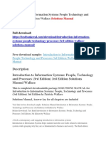 Introduction to Information Systems People Technology and Processes 3rd Edition Wallace Solutions Manual