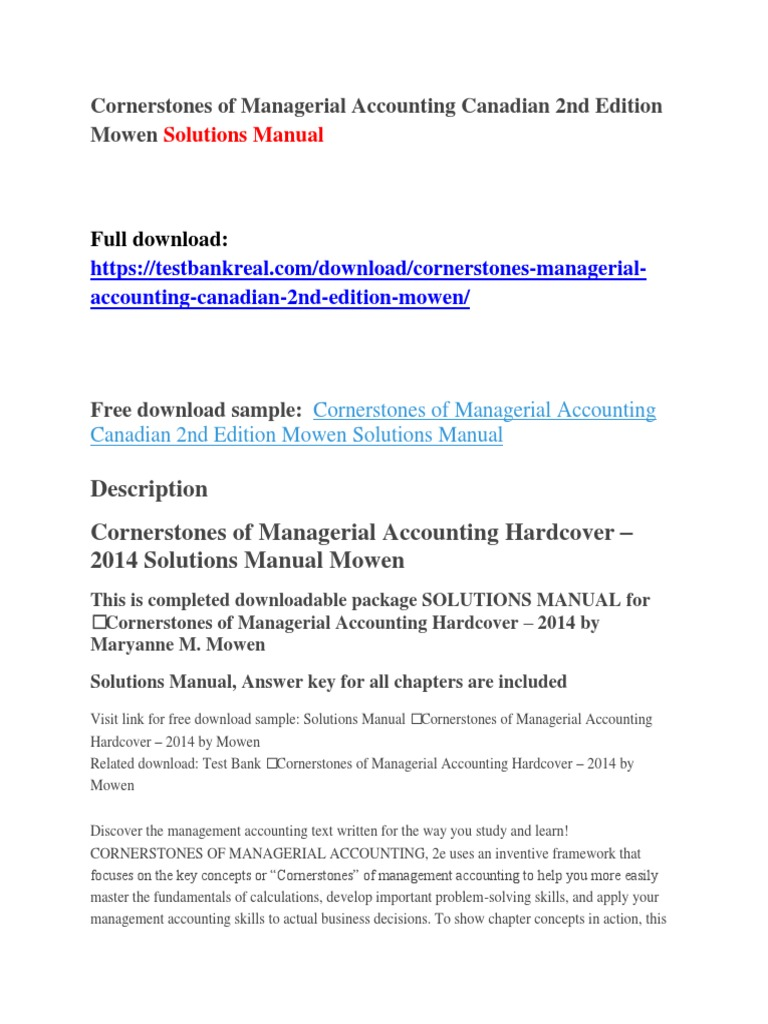 Cornerstones of Managerial Accounting Canadian 2nd Edition Mowen Solutions  Manual | Airspeed | Federal Aviation Administration