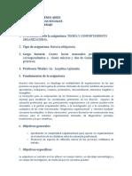 Programa Teoria y Comportamiento Organizacional AGLAMISIS