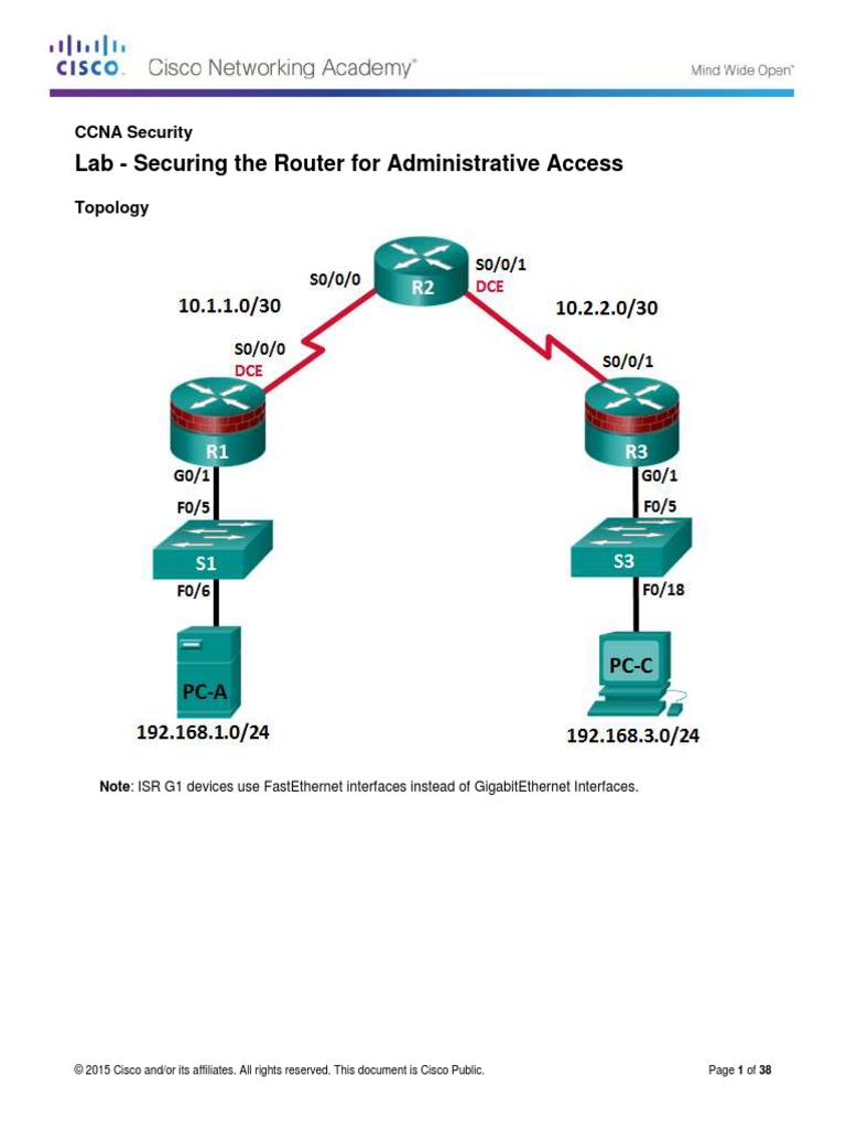 2 6 1 2 Lab - Securing the Router for Administrative Access