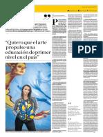 Quiero Que El Arte Propulse Una Educación de Primer Nivel en El País