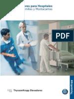 Dimensiones de elevadores montacamillas y montacamas para Hospitales