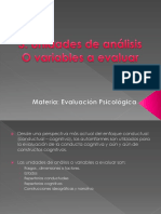 Exposición evaluación psicológica. Unidades de análisis o variables a evaluar