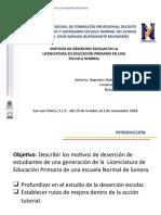 Motivos de Deserción en La Licenciatura en Educación Primaria en Una Escuela Normal