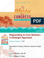 Responding to Cure Notice