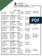 November 10, 2018 Yahrzeit List